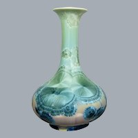 "Studio Porcelain 10"" Vase, Blue/Green Crystalline Glaze"