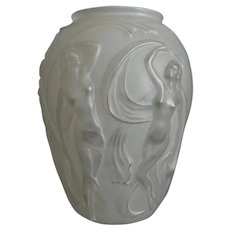 "Phoenix Glass Sculptured Artware ""Dancing Girl"" Vase, White, Circa 1936"
