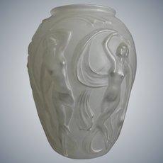 "Phoenix Glass Sculptured Artware ""Dancing Girl"" Vase, White, Circa 1936"