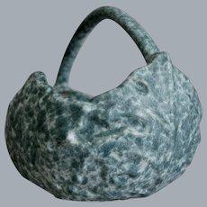 "Roseville Pottery Late Capri Basket #508-7"", Blue, Circa 1954"