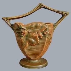 "Roseville Pottery Bushberry Basket #370-8"", Orange, Circa 1941"