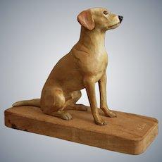 """Scarce Milton E. Brasher Dog Carving, """"Sean"""", Circa 1950"""