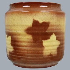 Cowan Pottery Decorated Vase #V-37, Brown/Yellow, Circa 1930
