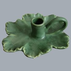 Hampshire Pottery Leaf Chamberstick, Green Matt, Circa 1915