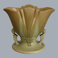 "Roseville Pottery Carnelian I Fan Vase #51-5"", Tan/Light Green, Circa 1926"