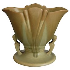 "Roseville Pottery Carnelian I Fan Vase #51-5"", Tan/Light Green, Circa 1926"
