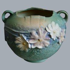 """Roseville Pottery Cosmos Rose Bowl #376-6"""", Green, Circa 1940"""