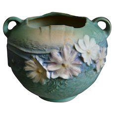 "Roseville Pottery Cosmos Rose Bowl #376-6"", Green, Circa 1940"