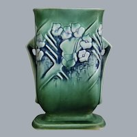 "Roseville Pottery Clemana Pillow Vase #123-7"", Green, Circa 1936"