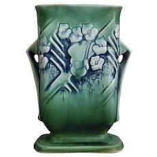 "Roseville Pottery Clemana Pillow Vase #123-7"", Green, Circa 1936"