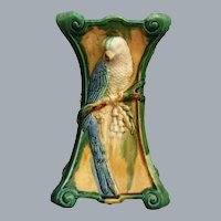 Continental Majolica Vase w/Parrot, Circa 1900
