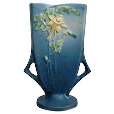 """Roseville Pottery Columbine Pillow Vase #19-8"""", Blue, Ca. 1941"""