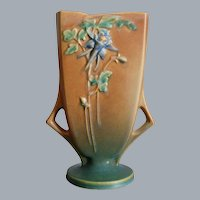 "Roseville Pottery Columbine Pillow Vase #19-8"", Brown, Ca. 1941"