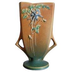 "Roseville Pottery Columbine Pillow Vase #19-8"", Brown, Ca. 1941"
