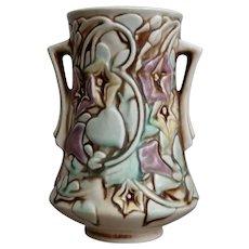 """Roseville Pottery Morning Glory Vase #724-6"""", White, Ca. 1935"""