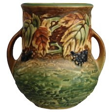 "Roseville Pottery Blackberry Vase #570-5"" w/Label, Ca. 1932"
