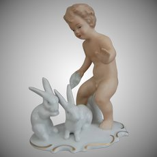 "Wallendorf Porcelain Figurine, ""Boy With Rabbits"", c 1960's"