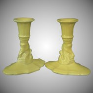 Cowan Pottery Seahorse Candlesticks, Pair, Ca. 1928, Daffodil Yellow