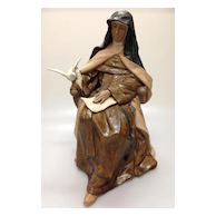 RARE Lladro Seated Saint St. Teresa Writing Dove Limited Edition Excellent condition