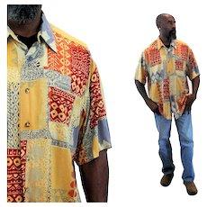 90s Charles Jourdan Men's Designer Aloha Shirt XL Extra Large