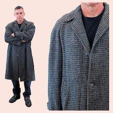 60s Men's Harris Tweed Gray Houndstooth Coat L 40 42 Large