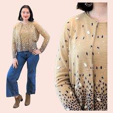 80s Oscar de la Renta Merino Wool Beaded Sweater Set M Medium