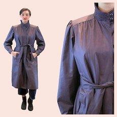 80s London Fog Purple Pleated Trench Rain Coat M L 14 Petite Medium Large