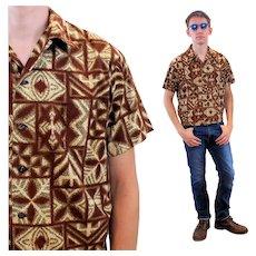 60s Hawaiian Brown Batik Men's Tiki Shirt S Small