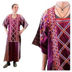 70s Embroidered Magenta Unisex Caftan S M Men's Small Women's Medium