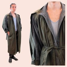 70s French Tweed and Poplin Jacques Gevertz Trench Coat 42 L Large