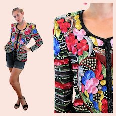 80s Dazzling Sequin Heart Jacket S Small