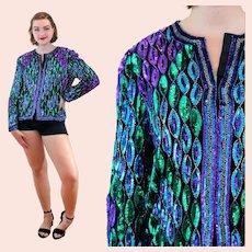 80s Sequin Laurence Kazar Mermaid Jacket M Medium
