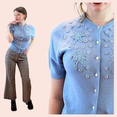 50s Blue Beaded Orlon Short Sleeve Cardigan XS Extra Small