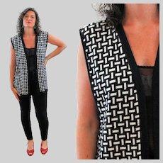 80s Black White Geometric Sweater Vest M L Medium Large
