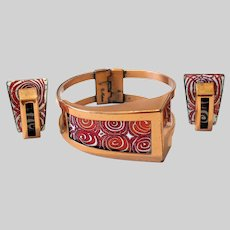60s Matisse Red Spirals Fenestra Bracelet and Earrings