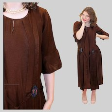 1920s Brown Crepe Dress with Beaded Accents XS S Small