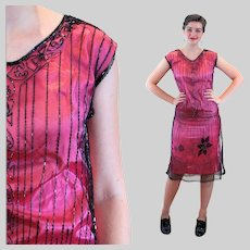 1920s Pink Black Tabard Beaded Flapper Dress S Small