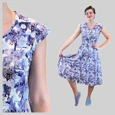 40s Novelty Print Jules Canton Dress S Small