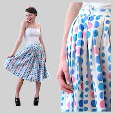 50s Blue Pink White Polka Dot Circle Skirt XS Extra Small
