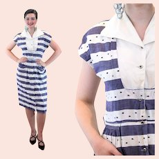 40s Striped Embroidered Cotton Day Dress S Small