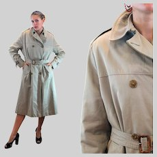 80s Brooks Brothers Wool Lined Trench Coat L Large