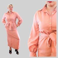 70s Christian Dior RTW Saks Peach Tunic Dress L XL Extra Large