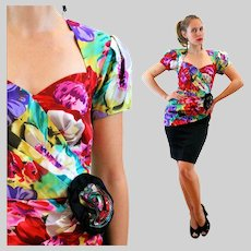 80s Colorful Floral 'BB Collections' Party Dress S Small