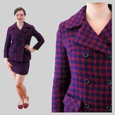 60s Mod Harlequin Plaid Wool Julius Garfinkel Skirt Suit S Small