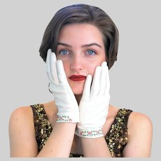 30s Embroidered Leather Gant Perrin French Gloves 6-3/4 Small