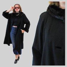 50s Glam Black Mink Fur Collar Swing Coat S Small