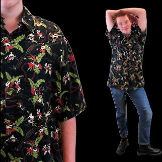 90s Hawaiian Hula Dancers Tiki Shirt XL Extra Large