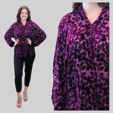 90s Magenta Rayon Silk Devore Velvet Blouse L Large