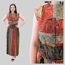 50s Kilim Tapestry Skirt Top & Vest Outfit, St George Buttons, M Medium