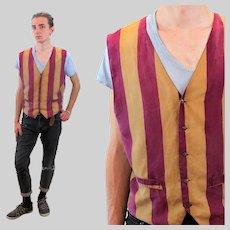 90s Men's Robert Stock Striped Silk Vest M Medium